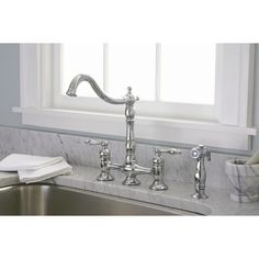 FREE SHIPPING! Shop Wayfair for Premier Faucet Charlestown Two Handle Widespread Bridge Faucet with Matching Spray - Great Deals on all Kitchen & Dining products with the best selection to choose from!