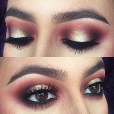gold glitter + burgundy smokey eye @nattyicee #halo / spotlight on top, makeup w/ black waterline
