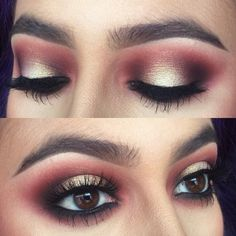 gold glitter + burgundy smokey eye @nattyicee #halo / spotlight on top, makeup w/ black waterline