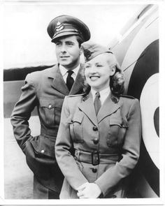 """Betty Grable & Tyrone Power, Jr. in Henry King's film, """"A Yank in the RAF,"""" 1941."""