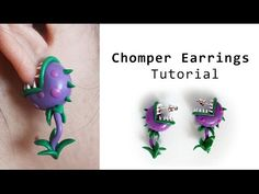 Chomper Earrings from Plants vs Zombies Polymer Clay Tutorial - YouTube