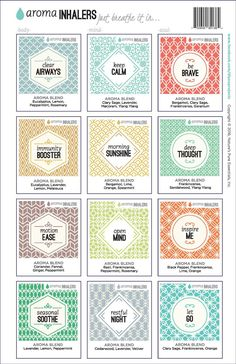 Aroma Inhaler Full Set Labels with Recipe Sheet (set/12 labels - 1 of each recipes) - My Oil Gear
