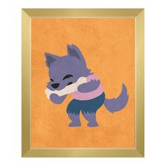 "Click Wall Art 'Werewolf' Framed Graphic Art on Canvas Size: 16.5"" H x 13.5"" W x 1"" D, Frame Color: Gold"