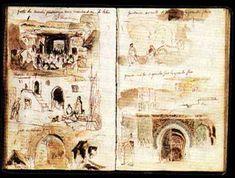 DELACROIX dessins extrait de carnet environ 1830 Emploie de la couleur. Alie texte et dessin