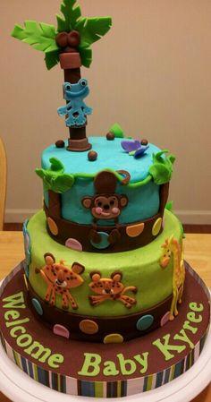 Jungle safari animals baby shower cake