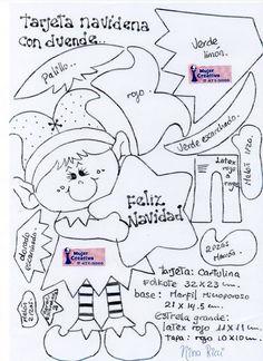 tarjeta-de-navidad-duende-2 Beaded Christmas Ornaments, Christmas Wood, Christmas Items, Felt Ornaments, All Things Christmas, Christmas Elf, Christmas Stockings, Christmas Crafts, Christmas Decorations