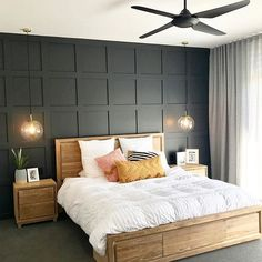 || Master Bedroom || The hours spent calculating, measuring, drawing and screwing up paper were worth it for the result of this wood paneling feature wall! . . . . #SophieLaundyInteriors #InteriorDesign #Interiors #InteriorStyling #InteriorStyle #FeatureWall #MasterBedroom #HomeDesign #HomeDecor #BuildSelections #Modern #Design