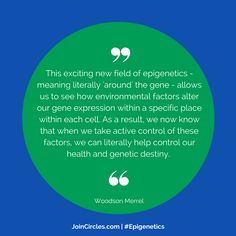 Powerful stuff! The science of #epigenetics empowers us #personalise our #nutrition #environment & #lifestyle choices