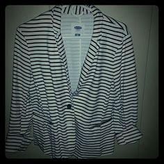 Old Navy cotton blazer White with black stripes,  stretchy fabric.   Comfy and cute!  Easy care and very stylish! Old Navy Tops