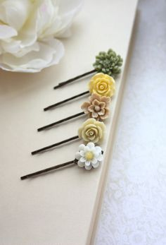 Shabby Green, Yellow, Brown, Ivory Flowers, Hair Pins. Shades of Brown and Ivory Hair Bobby Pins, Floral Hair Accessories. Set of Five (5) on Etsy, $22.00