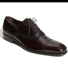 """This photo does not do the true, deep-burgundy/plum color of these shoes justice. Amazing in person - Salvatore Ferragamo """"Caesy"""" Capped Toe Oxford."""