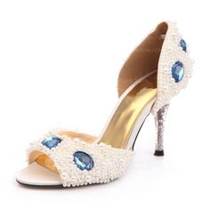 Women's Satin Cone Heel Peep Toe Sandals With Imitation Pearl Rhinestone Crystal Heel (047031208).   wow. if only the blue stones were done as a band across the toe