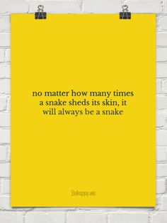 No matter how many times a snake sheds its skin, it will always be a snake #843838