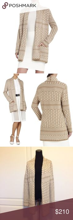 """BCBGMAXAZRIA Shadia Cream Sweater Coat Cardigan S New with tag! BCBGMAXAZRIA """"Shadia"""" textured jacquard sweater coat cardigan.  Size small. Shawl collar. Long sleeves. Open front. Pockets. Hits at mid thigh. Thick, cozy knit. Made of viscose, nylon, cotton, lambs wool, angora and cashmere. Measures approx 30.5"""" from shoulder to hem. Relaxed fit. Authentic BCBG. Makes a gorgeous transition piece between seasons. Smoke-free home. No trades. Offers welcome!💕 BCBGMaxAzria Sweaters Cardigans"""