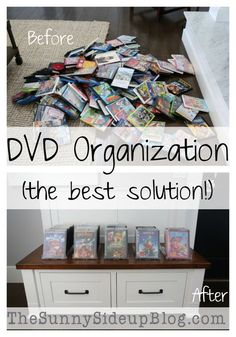 Is your DVD collection taking over your house! I've finally achieved DVD organization in my house (the best solution! Diy Dvd Storage, Movie Storage, Creative Storage, Dvd Storage Solutions, Storage Ideas, Book Storage, Movie Organization, Playroom Organization, Organized Playroom