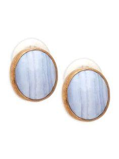 STEPHEN DWECK Blue Lace Agate Clip Earrings. #stephendweck