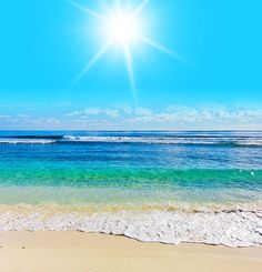 Wall MURAL beach scene sea ocean water summer sun rays by Wallnit