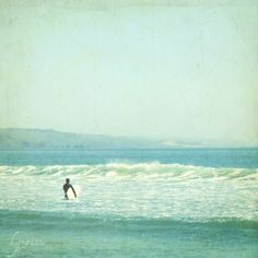 Surf  photography   Vintage style surfer photo pale by honeytree, $21.00