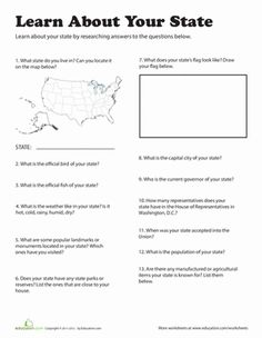 Learn About Your State Worksheet