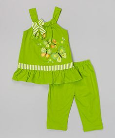 This Lime Stripe & Butterfly Top & Shorts - Toddler & Girls is perfect! #zulilyfinds