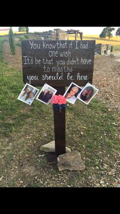 """In memory sign for outdoor wedding. Painted Lyrics from the song """"You Should Be Here."""" Added hooks to hang pictures of loved ones."""