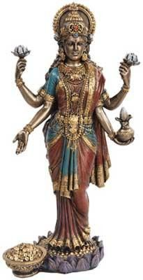 "A wonderfully detailed depiction of the goddess Lakshmi bearing many symbols of wealth and plenty. Cold cast resin. 10"" x 5 14"" x 3 14"""