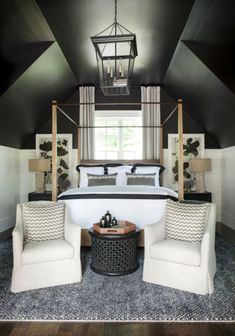 smart small attic bedroom design with black ceiling - Shelterness - Home Decor Attic Bedroom Designs, Attic Bedrooms, Attic Design, Home Bedroom, Bedroom Decor, Interior Design, Attic Bedroom Ideas Angled Ceilings, Dark Bedrooms, Attic Stairs