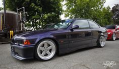 Technoviolet BMW e36 coupe on cult classic OZ AC Schnitzer type 1 wheels