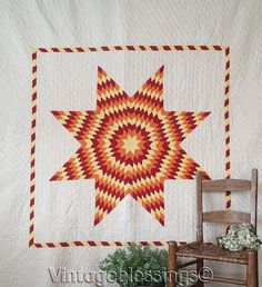 """Gorgeous! Large Lone Star or Blazing Star Vintage 30-40s QUILT 88x81"""""""