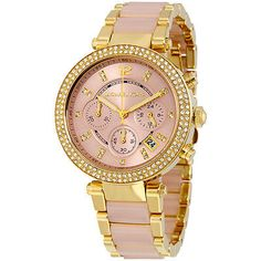 Michael Kors MK6326 Women's Parker Gold Tone Pink Dial Chronograph Watch ...not the rose gold! Just regular gold and pink.