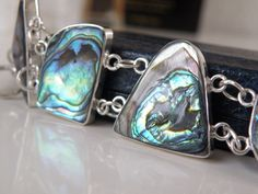 New Sterling Silver 925 MEXICO HOB Reversible Abalone Agate Station Bracelet #HOB #Chain