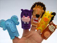 marionetas de dedo para personajes de la selva: elefante, hipopótamo, león, jirafa y mono