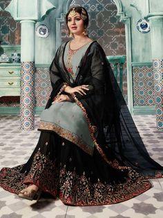 Grey And Black Ethnic Embroidered Sharara Kurti Set - Hatkay Salwar Suits Party Wear, Pakistani Party Wear, Pakistani Bridal Dresses, Pakistani Outfits, Indian Dresses, Indian Outfits, Sharara, Lehanga Saree, Anarkali