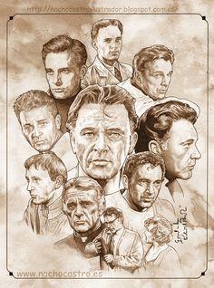 "Richard Burton,illustration from the book ""men of Hollywood"".Nacho Castro.Diábolo Ediciones"