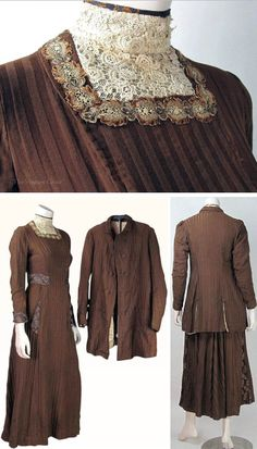 Edwardian walking suit in ribbed brown cotton. Boned bodice with high collar & square neckline of ivory lace with embroidered trim. Hook & eye closures from neck to one side of front panel to waist. Blue & gold damask trim at neck & cuffs and same buttons at belted back, on sides of skirt, & at panels below waist. Double-breasted coat has fabric-covered button closures, is fully lined and has large decorative buttons on cuffs, above vented back, and at front pockets. Vintage Genie/Ruby Lane