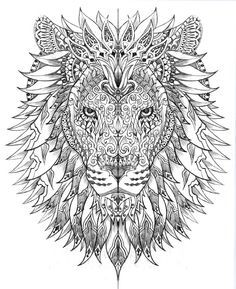 American Hippie Art ~ Coloring Pages . . Lion Plus