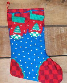 Adorable Christmas Stocking, Xmas present holder, stocking stuffer, home made Father Christmas Stockings, Handmade gifts, Gift storage,