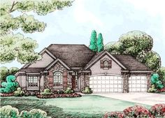French-Country Style House Plans - 1763 Square Foot Home, 1 Story, 3 Bedroom and 2 3 Bath, 3 Garage Stalls by Monster House Plans - Plan 10-1461