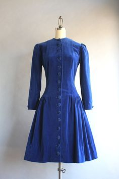 STOREWIDE SALE 1940s Dress / Vintage 40s Blue by HolliePoint