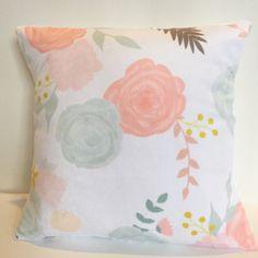 Summer blooms floral nursery pillow in blush, peach, coral, mint Peach Nursery, Pastel Nursery, Flower Nursery, Baby Girl Nursery Themes, Nursery Ideas, Nursery Decor, Bedroom Ideas, Aqua, Coral