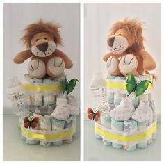 Unisex Lion 2 tier nappy cake. Great gift with a wow factor. All things a mum will need for her newborn'