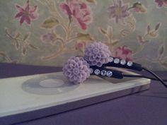 Lavender Dahlia Flower Earbuds with Swarovski by HoneyBadgerBuds, $15.00