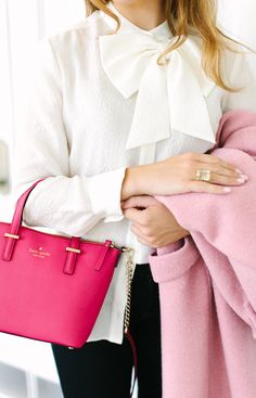 pink purse + bow blouse