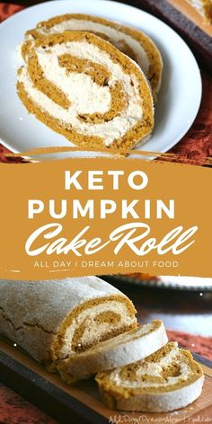 Tender almond flour pumpkin cake roll filled with luscious sugar-free whipped cream! Sugar free and grain free. Ketogenic Desserts, Keto Friendly Desserts, Low Carb Desserts, Healthy Desserts, Low Carb Recipes, Diabetic Friendly, Free Recipes, Dessert Recipes, Pumpkin Roll Cake