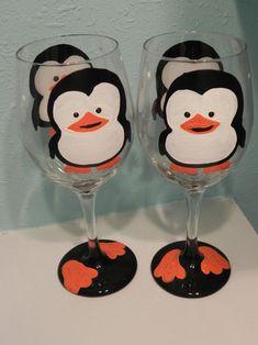 Penguin Wine Glass by classyetsassy on Etsy, $13.00