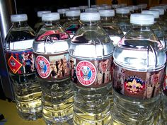 GREAT idea:  water bottles with scout pics from: Need to Create - Recipes: Ethan's Eagle Scout Court of Honor Reception Treats