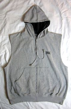 Men s Gray Sleeveless Hooded Sweatshirt Boxing Hoodie Full Zip Size XL   Everlast  Hoodie 69286070e