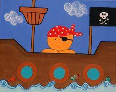 Pequeño Pirata! Cuadro pintado a mano en acrilico! Hay varios modelos