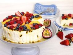 Passionfruit Cheesecake Pavlova - combines the best of both! Used different recipes but yum!!!!