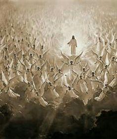 The Lord Jesus! Angels glorify The Lord Jesus Christ! Image Jesus, Fantasy Kunst, Prophetic Art, Biblical Art, Jesus Pictures, Heaven Pictures, Angel Pictures, Heaven Images, Jesus Is Lord